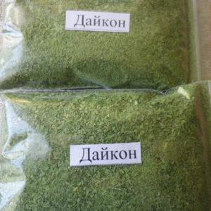 Дайкон, зелень